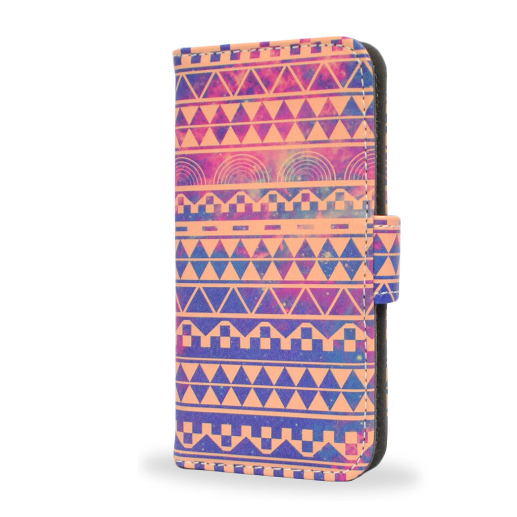 Aztec, tribal leather wallet case for iPhone 5/5S, purple, blue shades