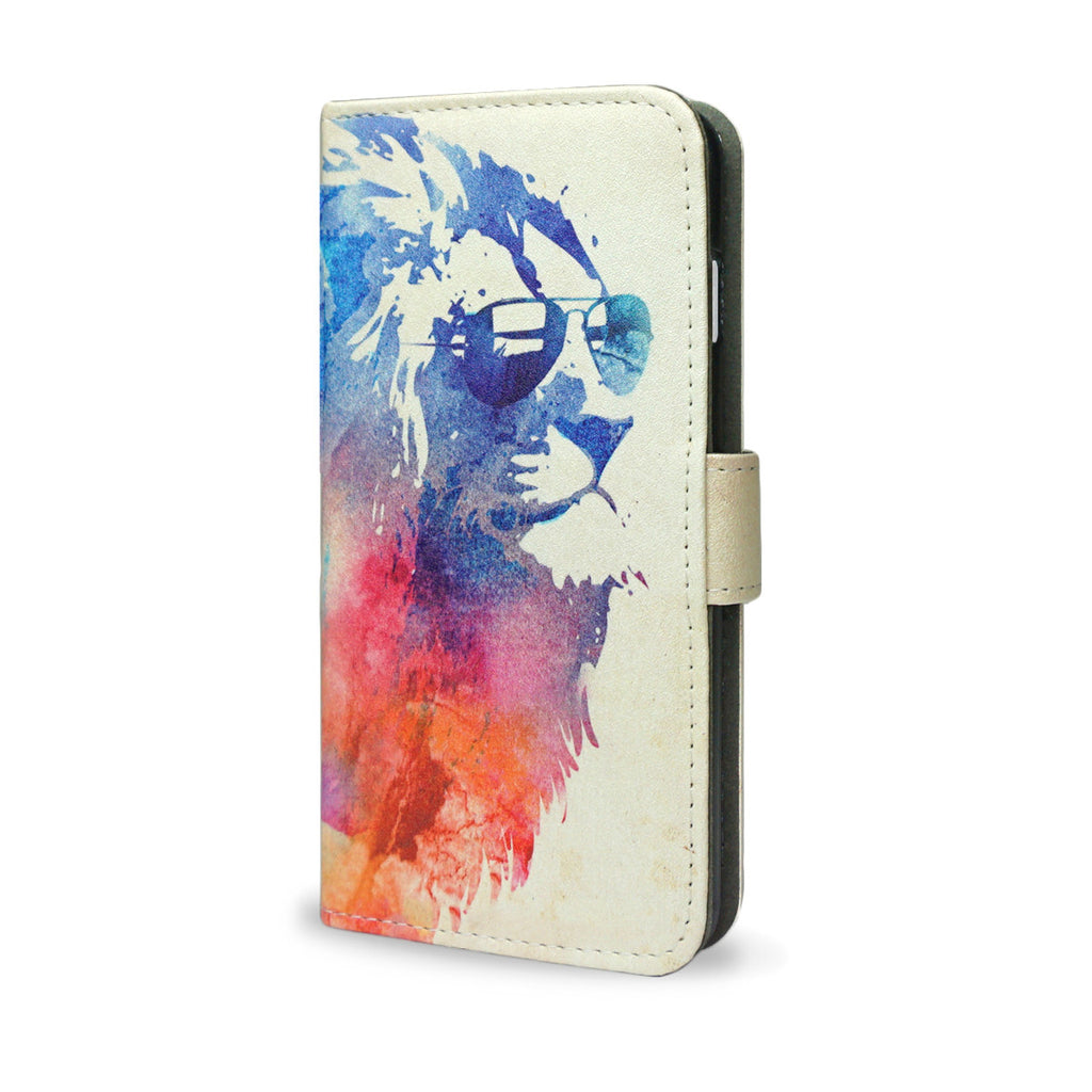 Sunny Leo, Artisitc Watercolour Lion iPhone 5 & 5S Wallet Style Case - Made using Vegan Leather