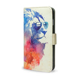 Sunny Leo, Artisitc Watercolour Lion iPhone SE Wallet Style Case - Made using Vegan Leather