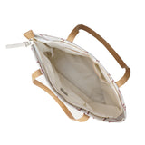 White Stone & Copper - Large Stylish Tote Handbag with Beige Handles