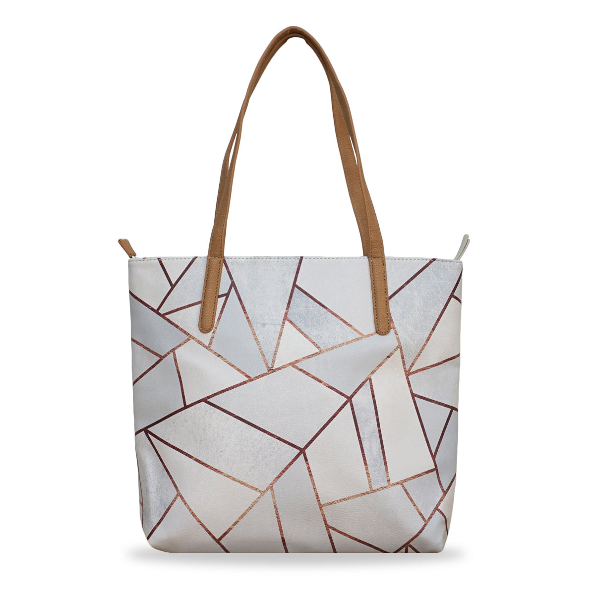 fc2358911 White Stone & Copper - Leather Tote Bag in White with Geometric Pattern