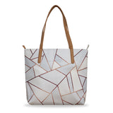 White Stone & Copper - Large Geometric Vegan Tote Handbag with Beige Handles