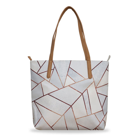White Stone & Copper - Leather Tote Bag in White with Geometric Pattern