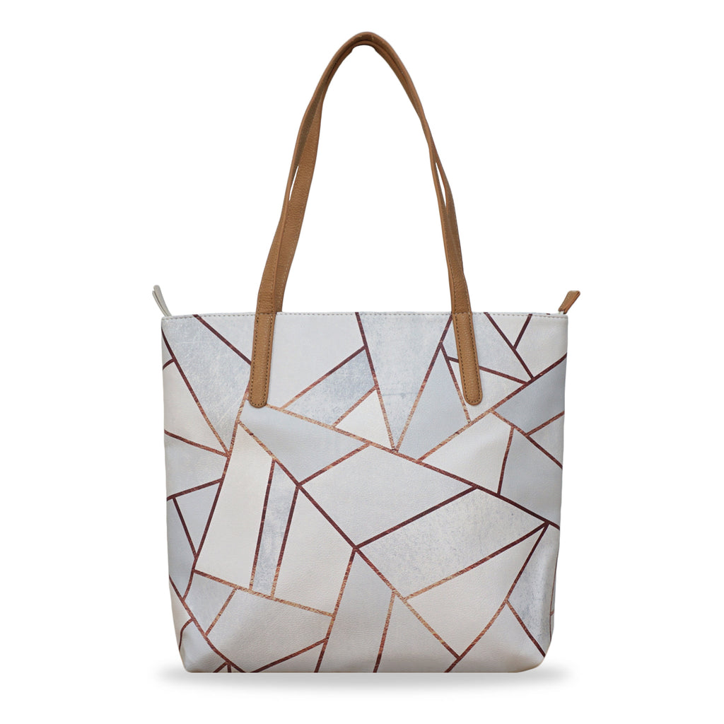 b257b3337 ... White Stone & Copper - Vegan Leather Tote Bag in White with Geometric  Pattern ...