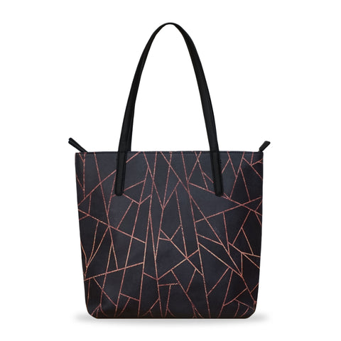 Shattered Black - Large Black & Gold Stylish Vegan Tote Handbag