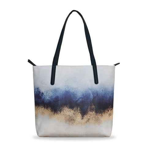 'Sky' - Vegan tote handbag with blue & gold design