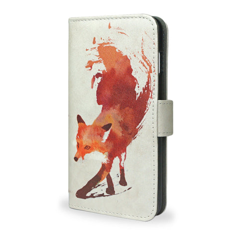 Vulpes iPhone SE leather wallet style case, red abstract fox, vegan leather, unique gifts