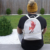 Vulpes - Small Designer White Leather Backpack Rucksack with Red Fox Artwork