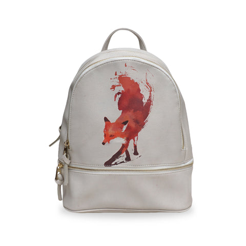 Small White Vegan Backpack with fox artwork, Rucksack with fox