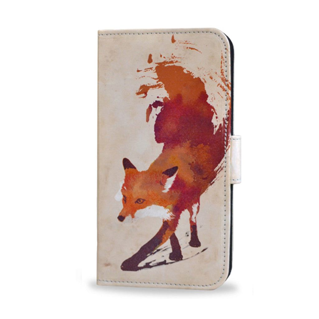 Vulpes - Red abstract fox print, case for Samsung Galaxy S6 edge, Leather wallet case for s6 edge