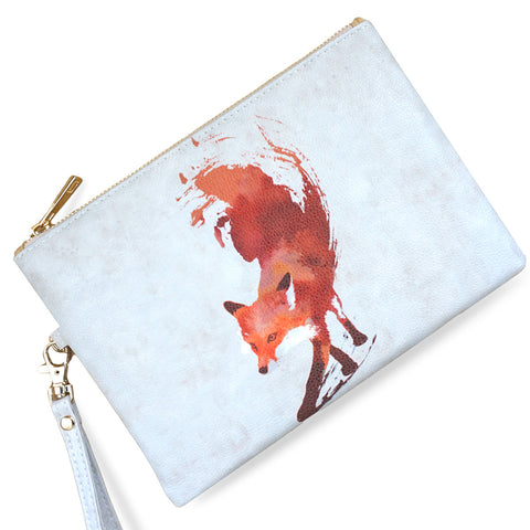Vulpes - Red fox vegan clutch bag with wristlet