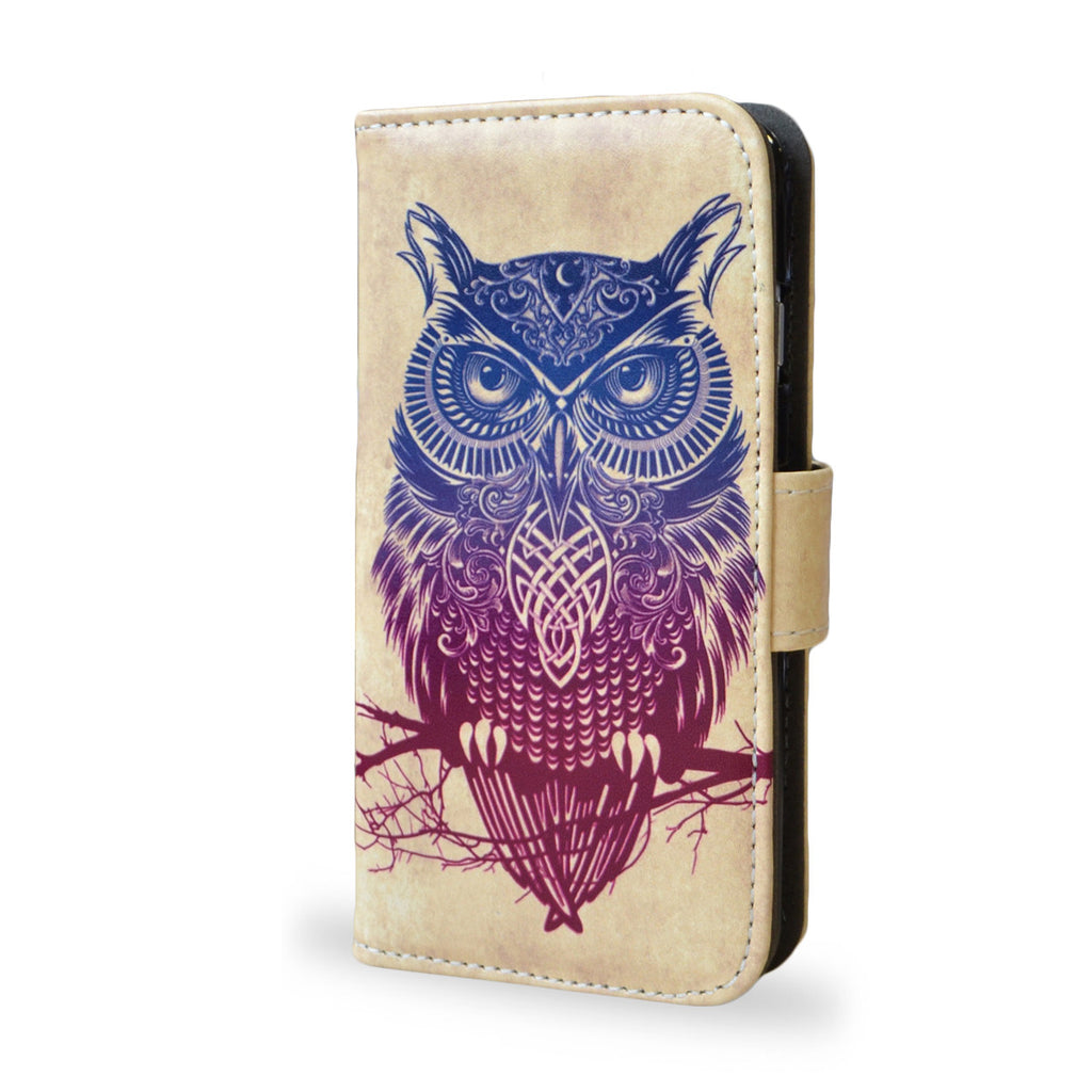 Warrior Owl - iPhone SE vegan leather wallet style case, tribal owl, owl tattoo case