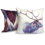 Watercolour Elk - Modern White & Blue Vegan Animal Print Stag Cushion