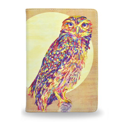 Watercolour Owl - Colourful iPad Mini 4 Folio Case made using vegan leather HETTY+SAM