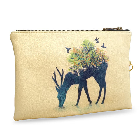 Create&Case 'Watering - A Life Into Itself' Deer Print Vegan Leather Clutch Bag By Artist Radiomode