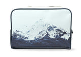 Waves Like Mountains - Stylish, modern vegan leather travel wash bag