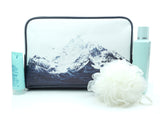 Waves Like Mountains - Stylish, modern vegan leather travel toiletry wash bag