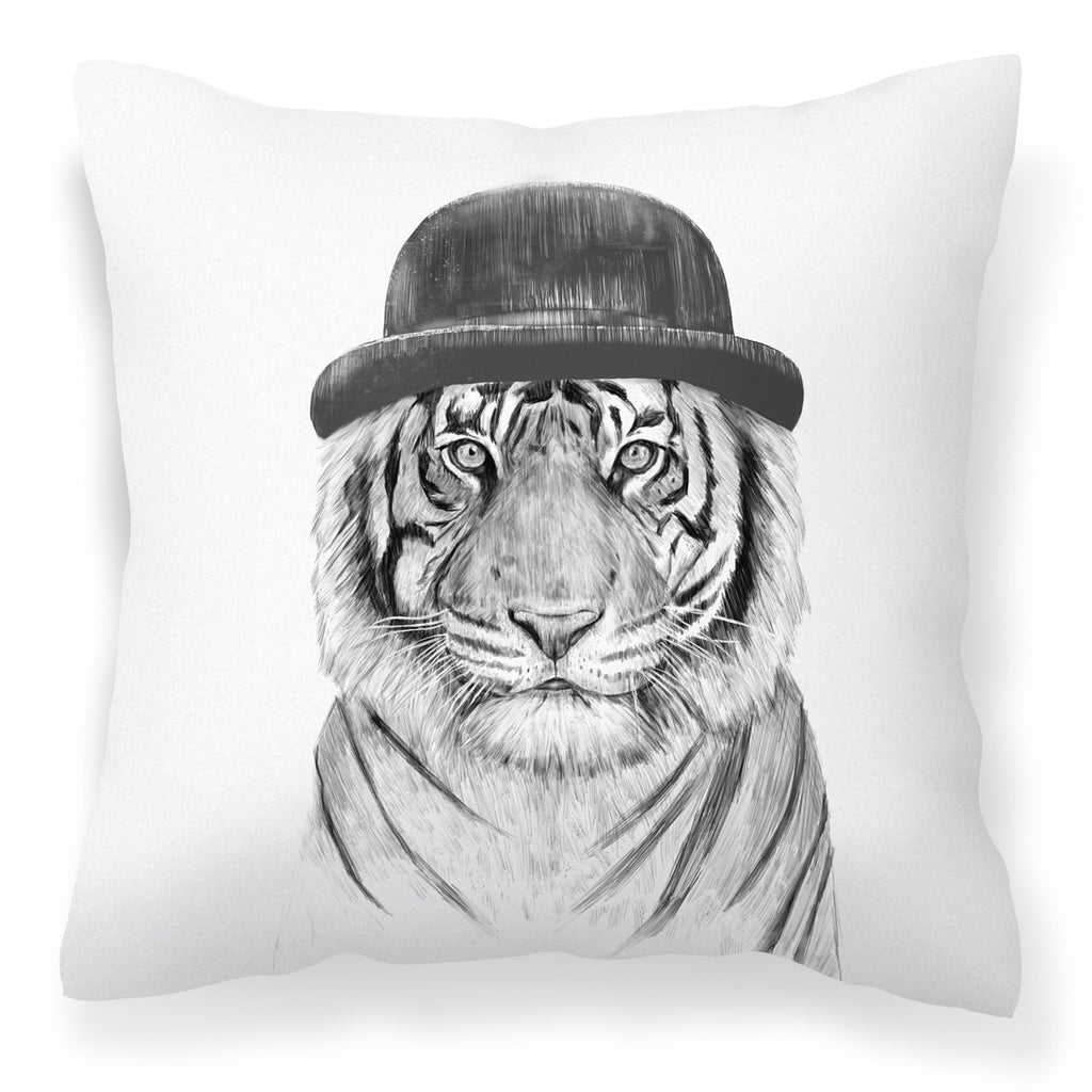 Welcome to the Jungle - White Stylish Tiger Print Cushion from HETTY+SAM