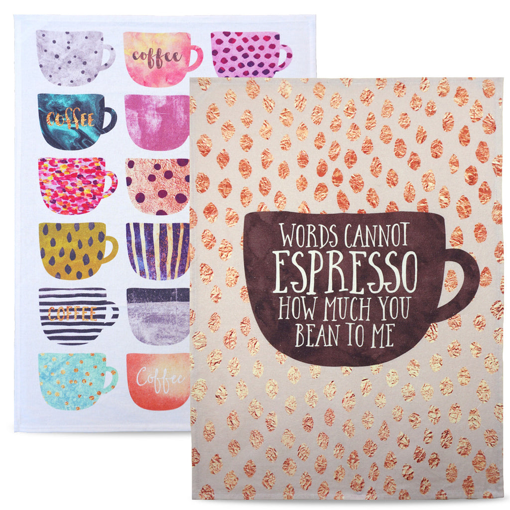 'Coffee Cups' 100% Cotton Tea Towel Set, Tea Towels, Create&Case - createandcase