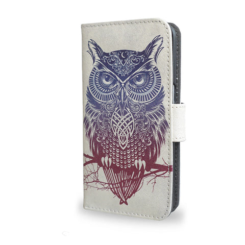 Warrior Owl S7 Case, unique gifts, Samsung Galaxy S7 leather wallet style case, tribal, tatto owl
