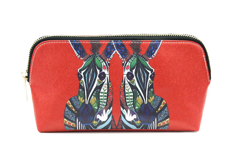 Zebra Love - Red make up bag with colorful print, made using vegan leather