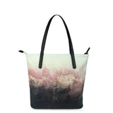 Pink Sky - Womens Luxury Pink & Black Stylish Leather Tote Bag