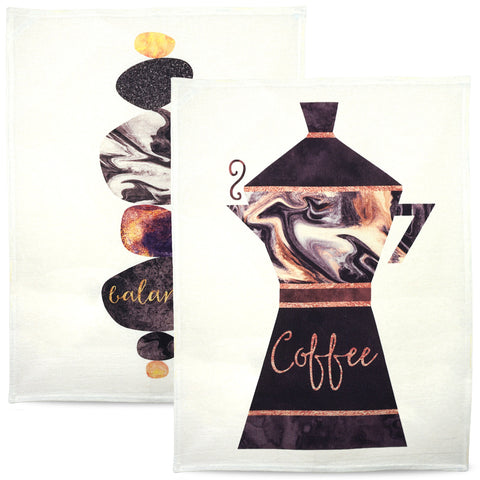 Coffee tea towel set - coffee lovers gift, 100% cotton towels, createandcase
