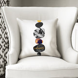 Balance - Modern White Cushion with White Marble Artwork