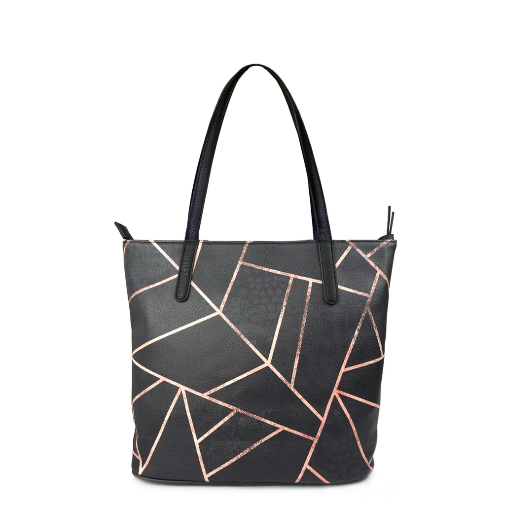 Velvet Black & Rose Gold - Large Black & Gold Leather Tote Bag