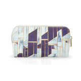 Blue Winter Gold - White Blue Marble Designer Womens Cosmetic Bag