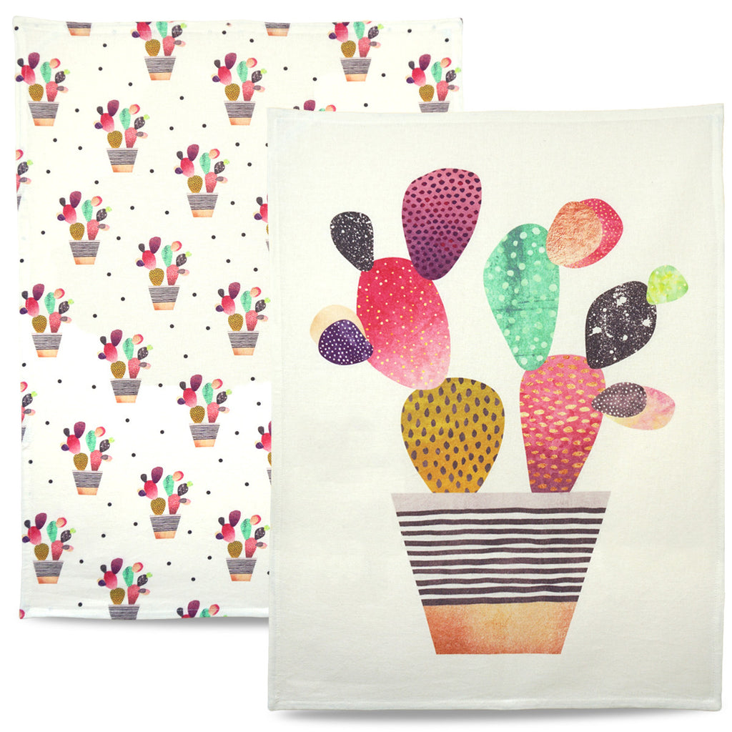 Colourful Cute Cactus Tea Towels - Modern, stylish home interior