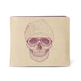 Cool Skull - Mens Beige Vegan Wallet with Artwork