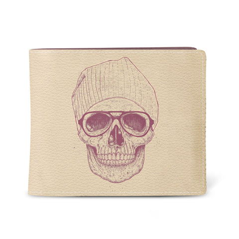 'Cool Skull' slim vegan leather men's wallet