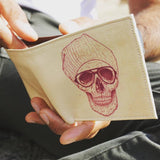 Create&Case 'Cool Skull' Hipster Vegan Leather Men's Wallet By Balazs Solti