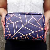 Copper & Midnight Navy - Large Geometric Navy Vegan Wash Bag