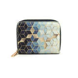 Gradient Cubes - Luxury Womens Blue & White Vegan Mini Purse Wallet