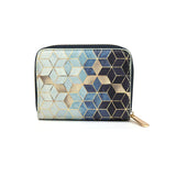 Gradient Cubes - Womens Blue & White Leather Mini Purse Wallet