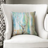 Deer Tree - Blue & Green Watercolour Woodland Deer/Stag Cushion