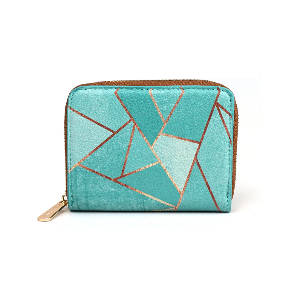 Duck Egg & Copper - Womens Stylish Green Geometric Mini Purse Wallet