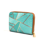Duck Egg & Copper - Womens Luxury Vegan Green Geometric Mini Purse Wallet