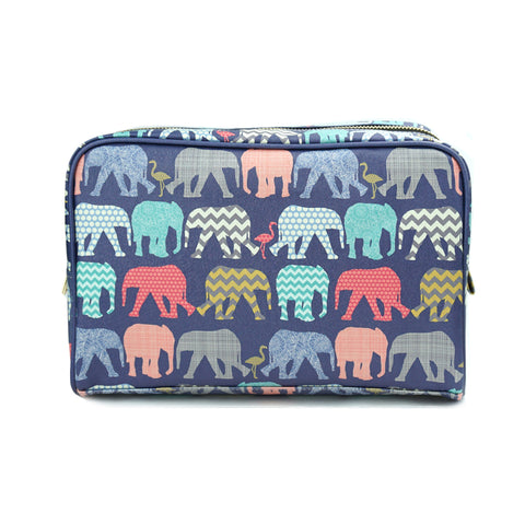 Elephants & Flamingos - Large Navy Cruelty Free, Vegan Wash Bag