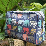Colourful Safari Print Travel, Wash, Toiletry Bag made using vegan leather - Elephants & Flamingos by Sharon Turner