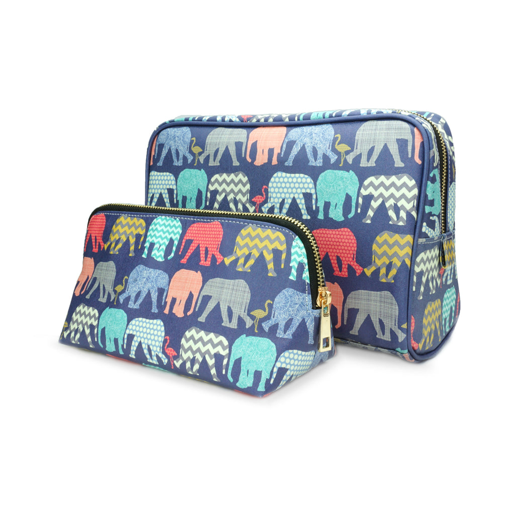 Elephants & Flamingos - Colourful Womens Travel Gift Set with Wash & Cosmetic bags