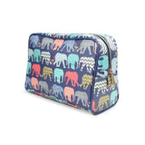 Elephants & Flamingos - Large Vegan Wash Bag with Animal Print