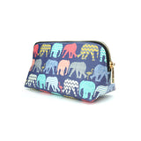 Elephants & Flamingos - Colourful Designer Cosmetic Bag for Women