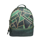 Emerald Night - Small Leather Backpack in Green & Black