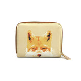 Smiling Fox - Stylish Vegan Leather Mini Purse with Orange Fox Artwork