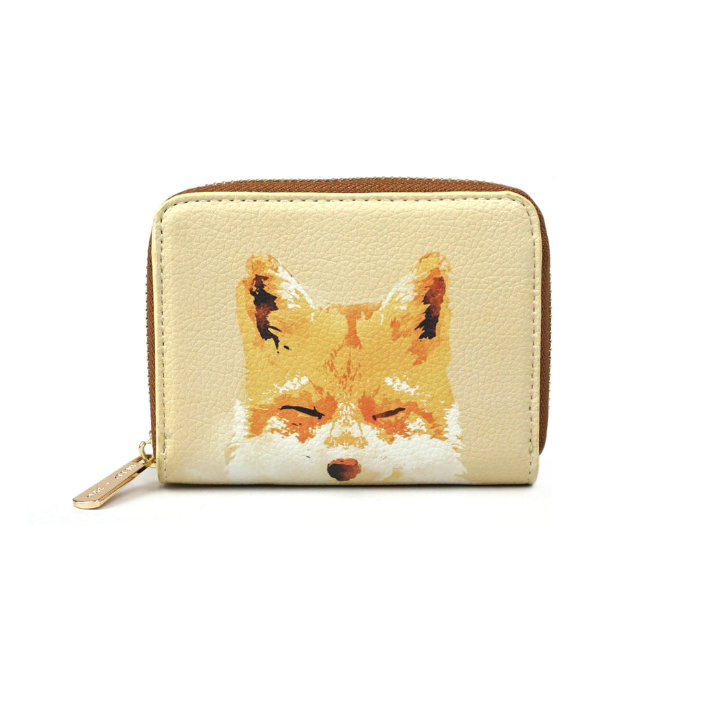 Smiling Fox - Cute Orange Fox Purse Wallet in Vegan Leather for Women