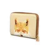 Smiling Fox - Womens Designer Orange Fox Purse Wallet in Vegan Leather