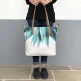 Agave Fringe - Vegan Leather Shoulder Bag in White & Green with Agave Plant Design